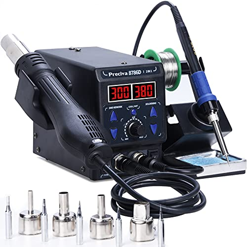 Preciva 8786D I 2-in-1 Hot Air Gun Rework and Soldering Iron Station with ℉ ℃, Cold Hot Air Conversion, Soldering Iron Station with Digital Temperature Correction and Sleep Function