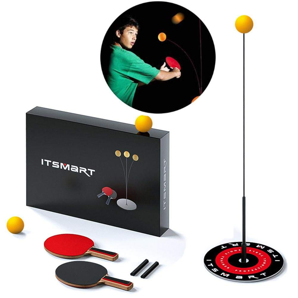 Juego de entrenador de tenis de mesa individual, palos y pelotas de ping pong con eje