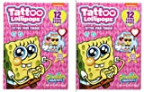 SpongeBob SquarePants Tattoo Lollipops Valentines Day Cards for Kids Classroom Exchange Kit, 24 Valentines Cards with Candy Tattoo Lollipops and 2 Teacher Cards