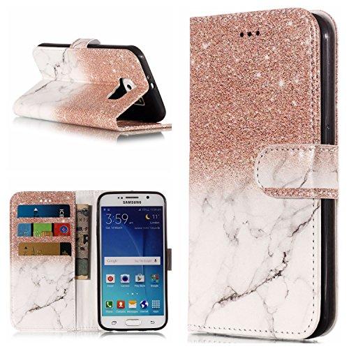 FNBK Kompatibel mit Hülle Samsung Galaxy S6 Edge Handyhülle Marble Tasche Leder Flip Case Brieftasche Schutzhülle Galaxy S6 Edge Klappetui mit Kartenschlitz Ständer,Rosegold Weiß