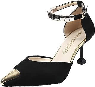 Sandalias de Mujer ZARLLE Mujer Tacón Medio Sólido Puntera EN Punta de Salón con Hebillas Sandalias de tacón Alto de Moda Mujer Delgados Sandalias Salvajes de la Manera Ligera Zapatos de Fiesta