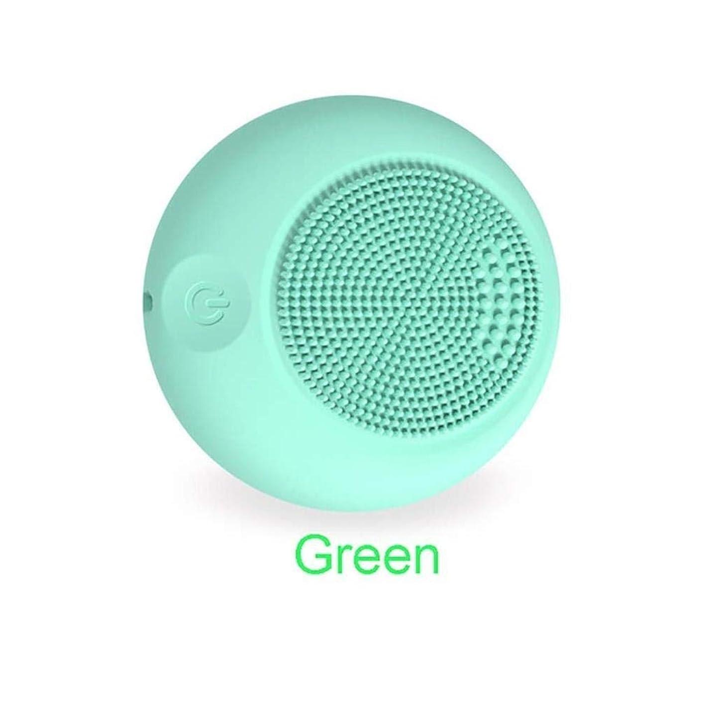はぁ巨大なまだらクレンジングブラシ、電動フェイシャルマッサージ、振動シリコンフェイシャルディープクリーン電気防水マッサージクレンザー (Color : 緑)