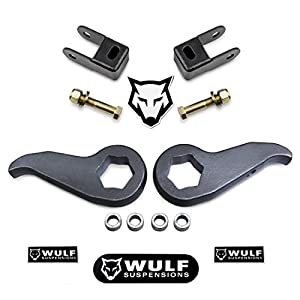 "WULF 1-3"" Front Lift Leveling Lift Kit For 2011-2019 Chevy Silverado GMC Sierra 2500HD 3500HD 8-LUG 2WD/4WD (Torsion Keys, Shock Extenders)"