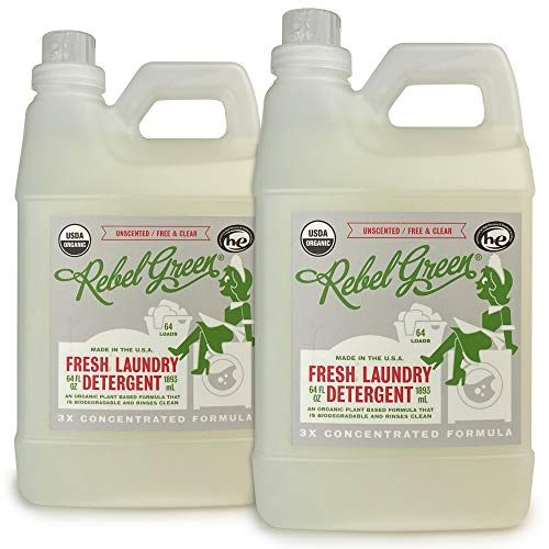 Rebel Green Organic Laundry Detergent, 128 Loads, Hypoallergenic and Natural Liquid Laundry Soap for Sensitive Skin, Unscented