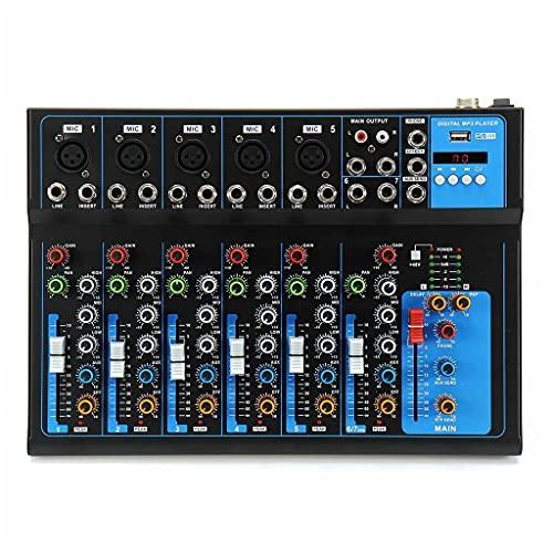 FENXIXI Mezclador de Sonido de micrófono Digital Bluetooth de 7 Canales con Amplificador de Consola de Mezcla de Sonido DJ USB DJ