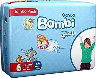 Sanita Bambi Baby Diapers Jumbo Pack Size 6, XX-Large, 16+ KG, 40 Count