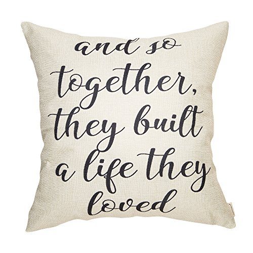 Fahrendom and So Together They Built a Life They Loved Farmhouse Dcor Family Decoration Sign Cotton Linen Home Decorative Throw Pillow Case Cushion Cover with Words for Sofa Couch, 18 x 18 in
