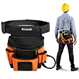 Sotech Tool Belt with Padded Suspenders, Carpenter's Suspension Framers Rig, Durable Electrician's Combo Apron Tool Pouch Bag with Hammer Holder
