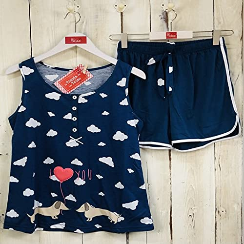 Pijama Mujer Verano Estampado Perro y Nubes Azul Marino (M - Talla 38)