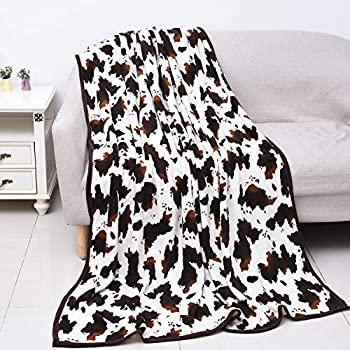 Shop LC Homesmart Cow Blanket Microfiber Throw Warm Cozy Fleece Animal Print Living Room Bedroom Sofa Couch Lightweight Travel Blanket