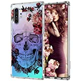 MOSNOVO Galaxy Note 10 Plus Case,Galaxy Note 10 Plus 5G Case, Skull Floral Skeleton Flower Slim Clear Case with Design Shockproof TPU Bumper Protective Cover Case for Samsung Galaxy Note 10 Plus
