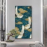 Gymqian Pintura de Lienzo de Animales Antiguos Flores Doradas Póster Abstracto e Impresiones Imagen de Arte de Pared Sala de Estar Decoración para el hogar Mural 40x80cm Sin Marco