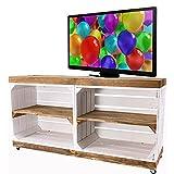 Vintage Möbel 24 GmbH Schicker Fernsehschrank aus Holz mit Rollen, als Kommode im Wohnzimmer 100x30x50cm (Weiß)