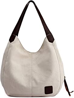 Tricherry Women Shoulder Bag Canvas Large Capacity Casual Durable for Travel Shopping