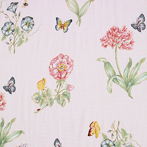 Brandream Crib 100% Cotton Percale Floral Girls Blanket,Perfect Baby Shower Gift