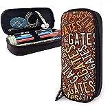 Gates American Apellido Gran capacidad Estuche cuero Estuche para lápices Estuche para lápices Bolso almacenamiento granOrganizador caja Bolígrafo marcador universitario Bolso estudiante