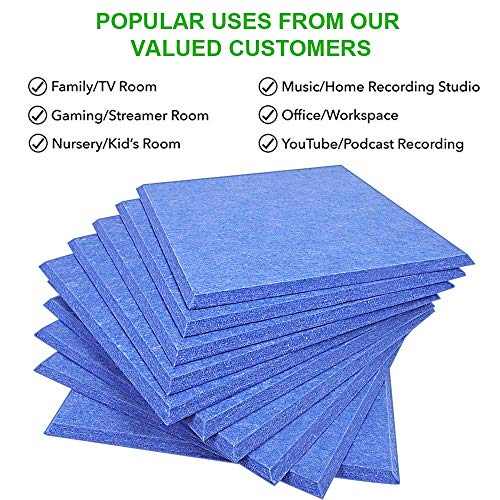 DEKIRU Upgraded 12 Pack Acoustic Panels, 12 X 12 X 0.4 Inches Sound Proofing Studio Foam Padding High Density Bevled Edge Tiles Soundproofing Panels, Great for Wall Decoration and Acoustic Treatment
