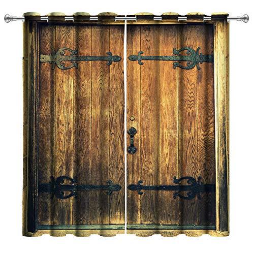 VERTKREA Wood Window Curtain, Wooden Door Window Curtains, Wood Barn Door Grommet Window Curtain for Room, Set of 2 Panels, 52 x 63 Inches