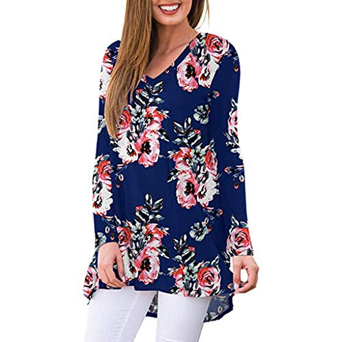 Eaktool Womens Floral Print Tunic Tops 3/18 Long Sleeves Casual Loose Floral Blouse Button Up Print Shirts(Navy,Small)