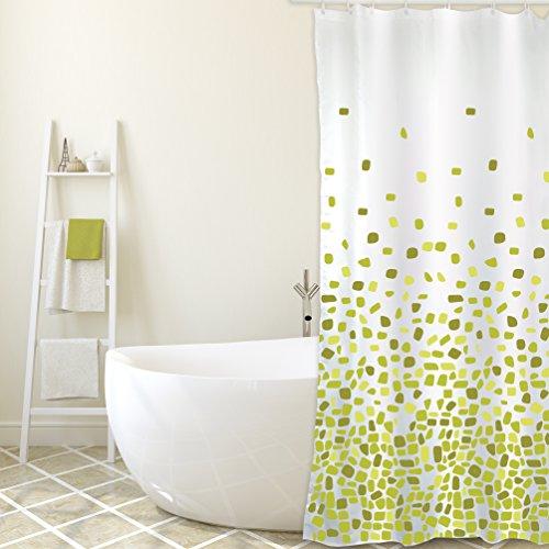 """MSV Cotexsa by Premium Anti-Schimmel Textil Duschvorhang - Anti-Bakteriell, waschbar, 100% wasserdicht, mit 12 Duschvorhangringen - Polyester, """"Brest"""" Grün 180x200cm – Made in Spain"""