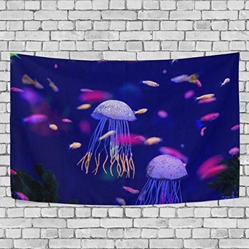jstel Unterwasserwelt Fische Aquarium Wandteppich für Dekoration für Wohnung Home Decor Wohnzimmer Tisch Überwurf Tagesdecke Wohnheim 152,4x 101,6cm, Textil, multi, 51x60 inch