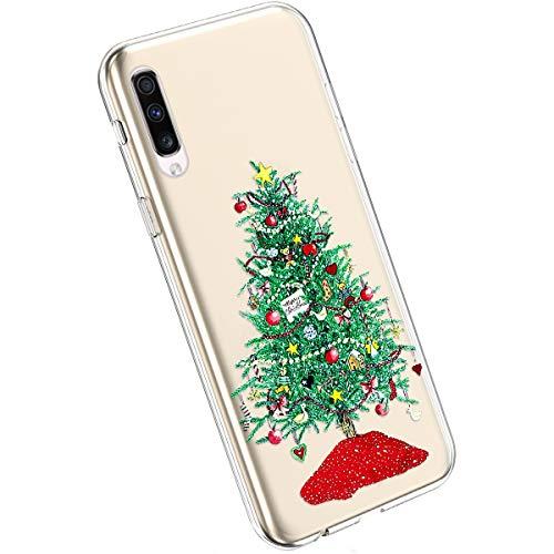 Ysimee Compatible avec Samsung Galaxy A70 Coque Transparent avec Motif Série de Christmas Etui en Silicone Souple Ultra Mince Doux Case Housse de Protection Crystal Clear Cover,Arbre de Noël Vert