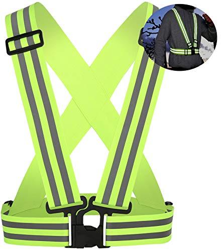 Ongear Premium Reflektorweste Warnweste mit erhöhter Sichtbarkeit | jetzt mit Doppel Reflektorstreifen | Elastisch einstellbar Kinder bis Erwachsene XXL | EXTRA Reflektierend | Joggen Fahrrad Running