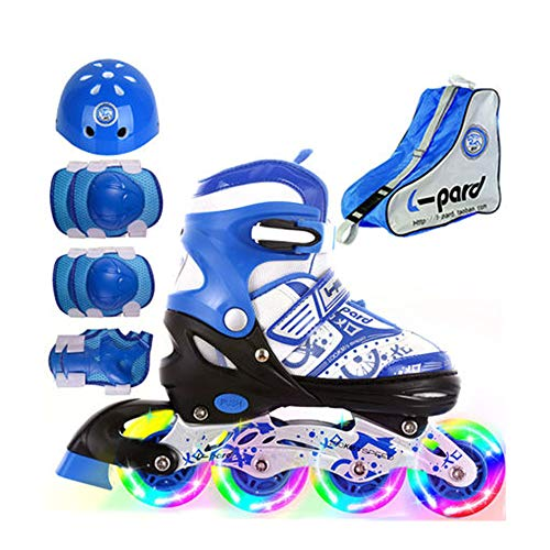 ZMCOV Adjustable Inline Skate, Illuminating Roller Skates,Great for Beginners, Comfortable Roller Skates, Inline Skates for Girls and Boys,Blue,31~34