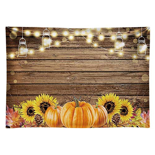 Funnytree 7x5ft Durable Fabric Autumn Thanksgiving Theme Party Backdrop No Wrinkles Rustic Wooden Floor Fall Harvest Pumpkins Photography Background Sunflower Retro Wood Decoration Banner Photo Booth
