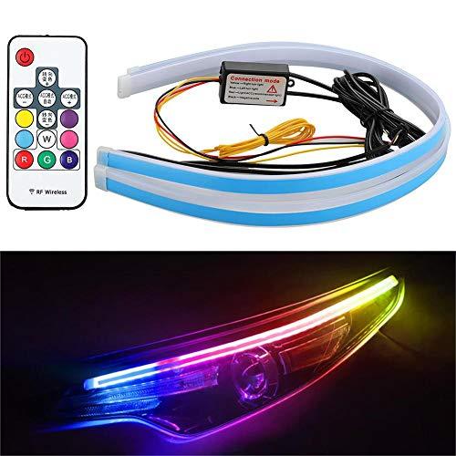warmheart 2PCS Auto-Außenleuchten, App-gesteuertes Auto-LED-Lichtband Atmosphärenlichter Für Unterlichtbeleuchtung, Wasserdichtes Blinker-Dekorlicht Für Auto-SUV-LKW-Motorräder