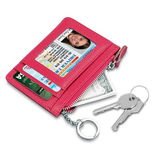 Terdinero Leather Zip Credit Card Holder Wallet with ID Window Keychain RFID Blocking, Rose Red, Medium