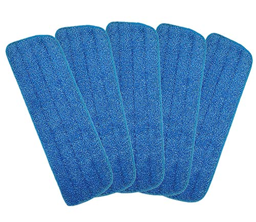 Microfiber Spray Mop Replacement Heads for Wet/Dry Mops Floor Cleaning Pads Compatible with Bona Floor Care System (5 Pack )