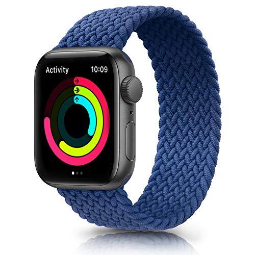 Meliya Cinturino Intrecciato Compatible con Apple Watch 38mm 40mm 42mm 44mm, Sportiva Nylon Ricambio Elastica Cinturino Compatible per iWatch Series 6/5/4/3/2/1/SE (42/44mm L, Blu)