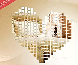 100 pcs 2x2cm Silver Acrylic Rectangle Removable 3d DIY Mosaic Mirror Effect Wall Stickers