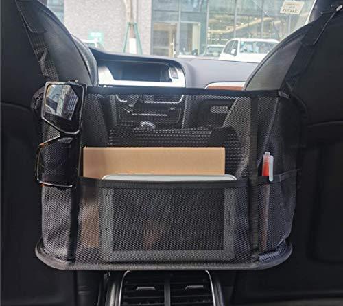 Feel Show Car Net Pocket Handbag Holder, Seat Storage Net Car Pocket for Bag Purse Documents, Back Seat Organizer Pet Barrier with 3 Extra Pockets