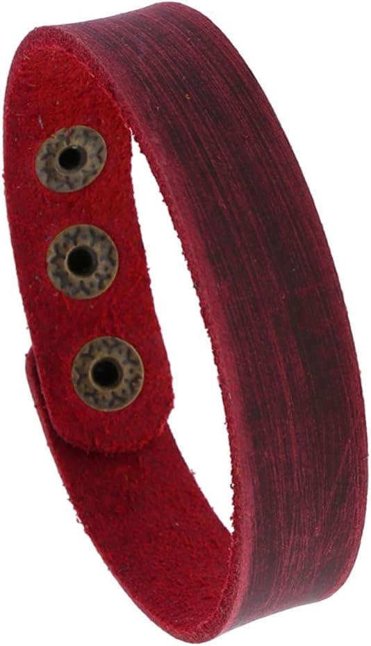 EXCEART 4pcs Leather Bracelet Punk Wristband Adjustable Cuff Bracelet Leather Wrap Bracelet for Women Man Cuff Wrap (Dark Red)