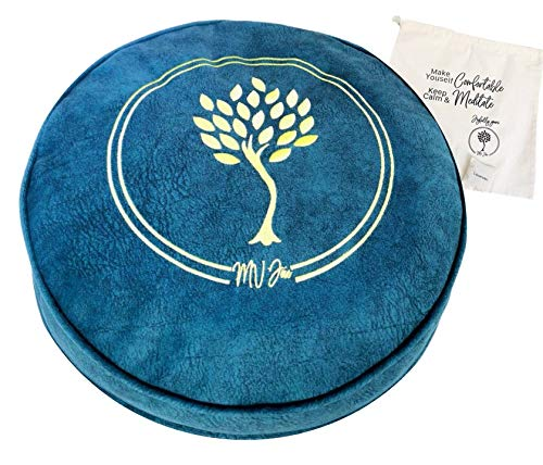 MV Joie Zafu Yoga Meditation Cushion filled with Buckwheat Hulls & Charcoal Packs   Soft faux suede Yoga Pillow; Gold embroidery design, Free Lavender Pouch & Anti-dust Cotton Bag (Indigo Blue, 13')