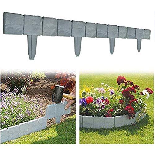 J-ouuo Valla de jardín para patio, 10 piezas de plástico de imitación de piedra para bordes decorativos