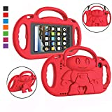 LTROP Kids Case for Kindle Fire 7 2019/ 2017 - Light Weight Shockproof Handle Friendly Kids Case with Built-in Kickstand & Shoulder Strap for All-New Fire 7 9th/ 7th Generation Tablet (7' Display) - Red