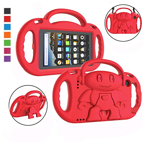 """LTROP Kids Case for Kindle Fire 7 2019/ 2017 - Light Weight Shockproof Handle Friendly Kids Case with Built-in Kickstand & Shoulder Strap for All-New Fire 7 9th/ 7th Generation Tablet (7"""" Display) - Red"""