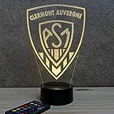 Lampe rugby Clermont Auvergne 16 couleurs RGB & télécommande personnalisable illusion - Fabriquée en France - Lampe de table - Lampe veilleuse - Lampe d'ambiance