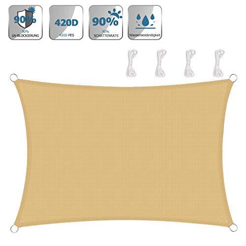 TOPLUS Sonnensegel Sonnenschutz Garten Balkon Wetterschutz wasserabweisend Rechteckig 420D PES UV-Schutz für Garten Outdoor,beige (3 * 4m)