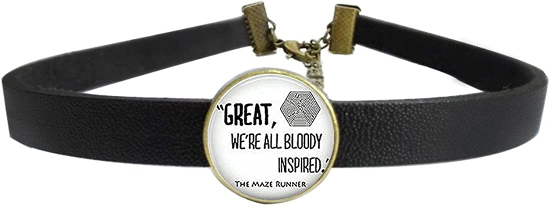 LooPoP Womens Gothic Leather Choker Collar Maze Runner Quote Punk Necklace with Glass Pendant Adjustable