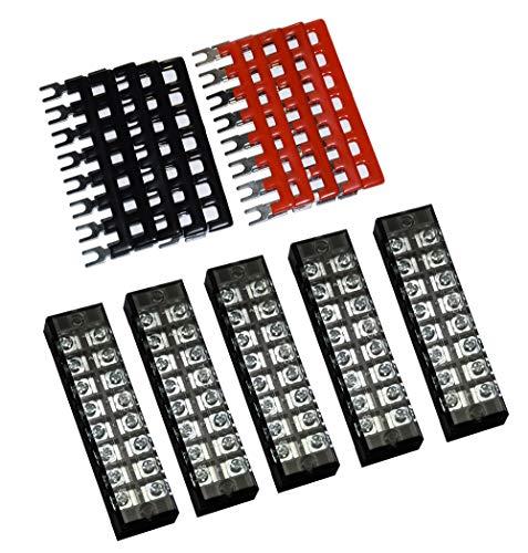 5 Pcs Dual Row 8 Position Screw Terminal Strip 600V 25A + 400V 25A 8 Postions Pre Insulated Terminal Barrier Strip Red/Black 10 Pcs