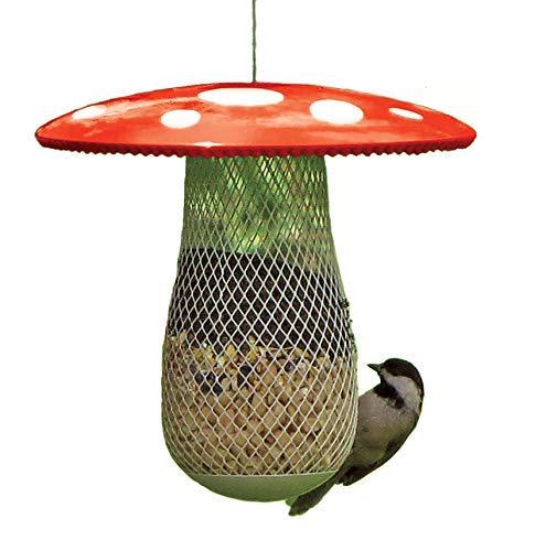 La meilleure mangeoire pour oiseaux sauvages afin d'en attirer plus, remplissez-la avec des graines de tournesol noir, des arachides et des boulettes de suif. Facile à installer, nettoyer et remplir, il s'agit du cadeau parfait pour les amis et la famille ! (Rouge)