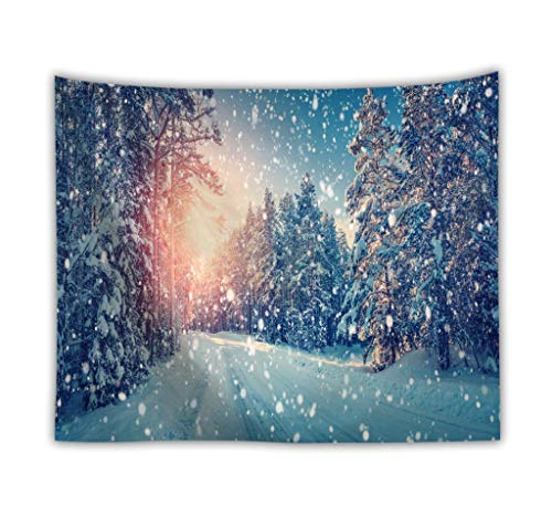 DROMEZ Invierno Tapiz de Pared,Mural Puesta De Sol Paisaje De Nieve Naturaleza Montañas Fotomural Decorativo,Tapestry Decoración de Pared para Dormitorio Sala de Estar,D,130 * 150