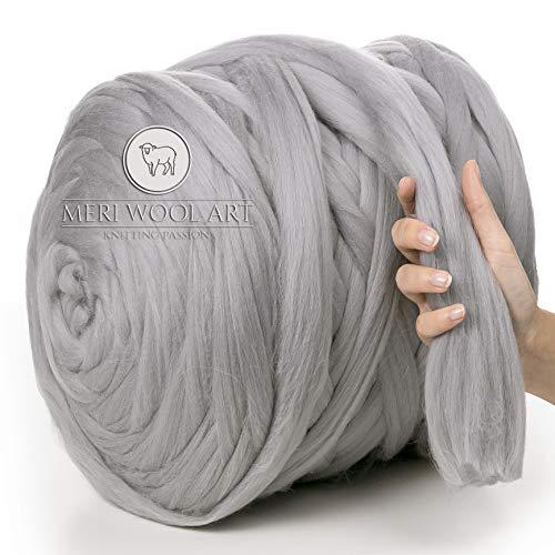 MeriWoolArt 100% lana merina, hilo grueso, súper suave, 25 micrones extra grueso | 4-5 cm | Brazo Tejido Manta Lanzamiento Bufandas Vestir Hilado Fieltro (LIGHT GREY, 100g)