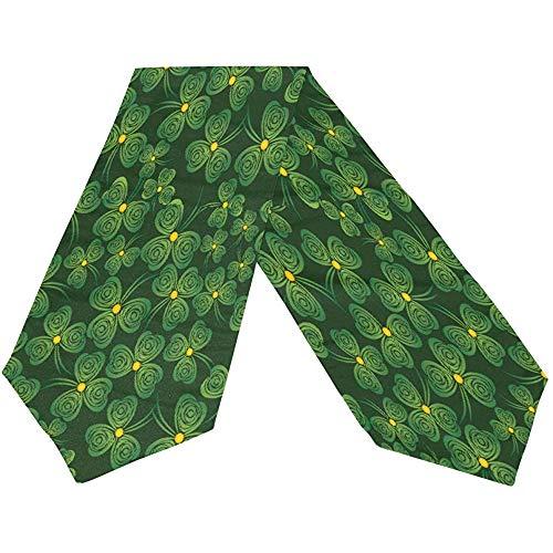 sunnee-shop Gelukkige groene klaverblad-gouden tafelloper St. Patricks dagen, lente ivoor bloemenrechthoekige tafelloper