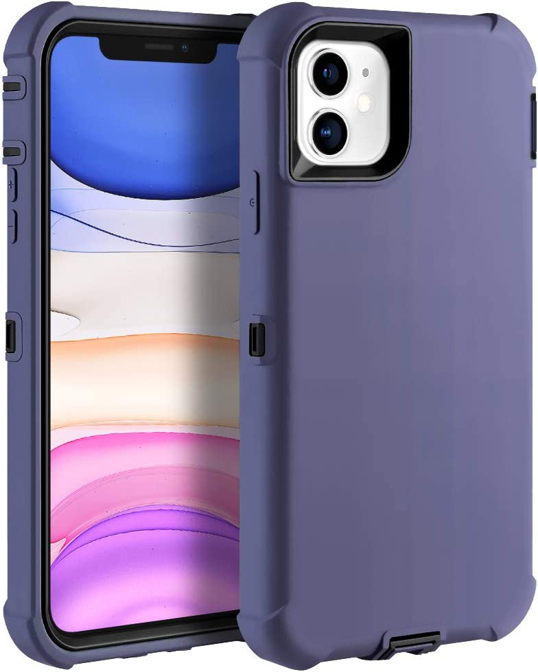 Sansunto for iPhone 11 Case, Durable Heavy Duty Shockproof Full Body Protective Case 3in1 Hard PC Bumper and Soft Silicone Back Cover for iPhone 11 6.1 inches (Linen Blue/Black)