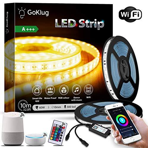 LED Strip Google Home GoKlug LED Strip Alexa Streifen 10m, Sync mit Musik, 16 Mio Farben steuerbar via App, dimmbar WLAN Wasserdicht Smart RGB LED Strip Kit Leiste Band Beleuchtung